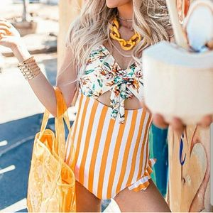 Cupshe Orange Floral And Stripe One Piece Swimsuit